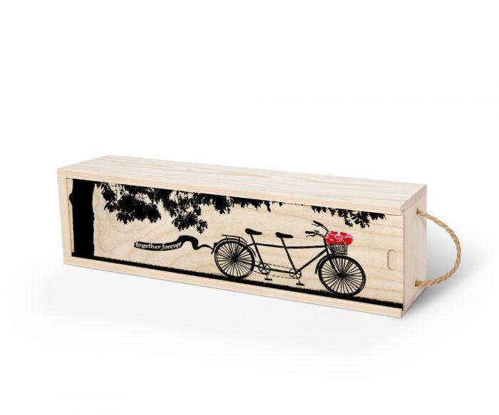 تصویر عاشقانه دوچرخه و قلب روی جعبه کشویی اختصاصی