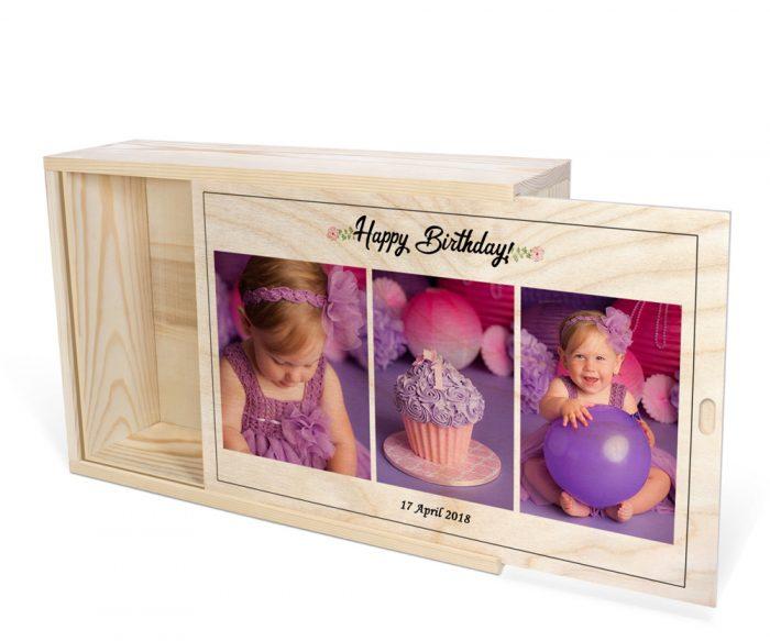 عکس تولد کودک چاپ شده روی جعبه چوبی اختصاصی