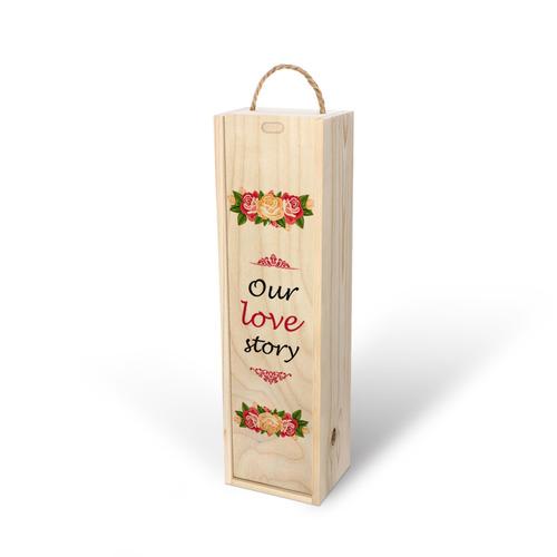 طرح گل و داستان عشق چاپ شده روی جعبه چوبی اختصاصی