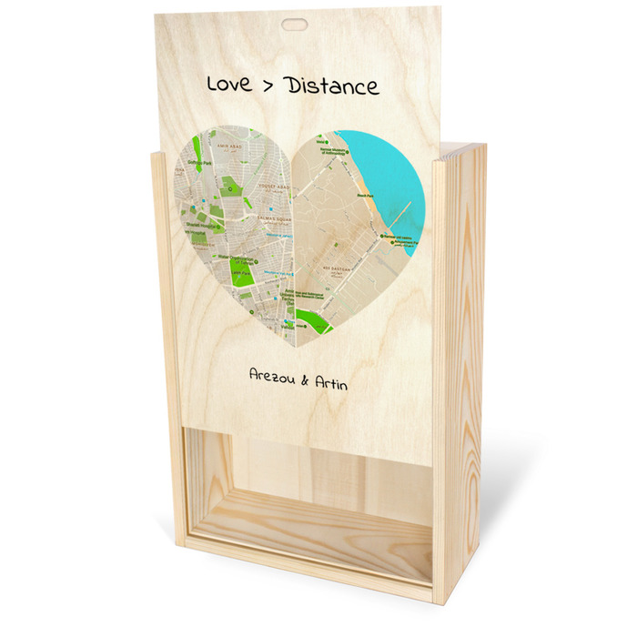 جعبه چوبی اختصاصی مستطیلی با در نیمه باز