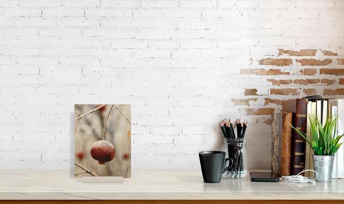 ابعاد عکس چوبی 16x21 عمودی که در کنار دیگر وسایل در دکوراسیون قرار گرفته است و ابعاد آن را نمایش میدهد